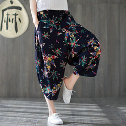 Ethnic-Style Printed Cotton Linen Capri Pants Women's 2019 Autumn New Style Loose And Plus-sized Loose Pants