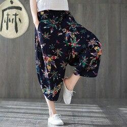Pantalones Capri de lino de algodón estampado de estilo étnico para mujer 2019 otoño nuevos pantalones sueltos y de tamaño grande