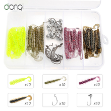 DONQL 40pcs Worm Fishing Soft Lures 50mm 0.6g Jig Silicone Bait Artificial Fishy Semll Wobblers Swimbait Sea Carp Fishing Lures