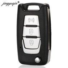 Jingyuqin-funda de control remoto plegable para Ssangyong Korando, nuevo Actyon, C200, 2016, 2017, 3 botones, funda para llave de coche plegable