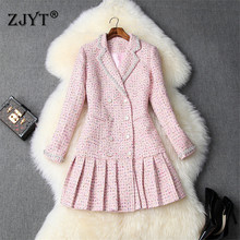 Dress Woman Ruffle Hem Diamonds Runway-Designers Fall Winter Sweet Pink Tweed High-Quality