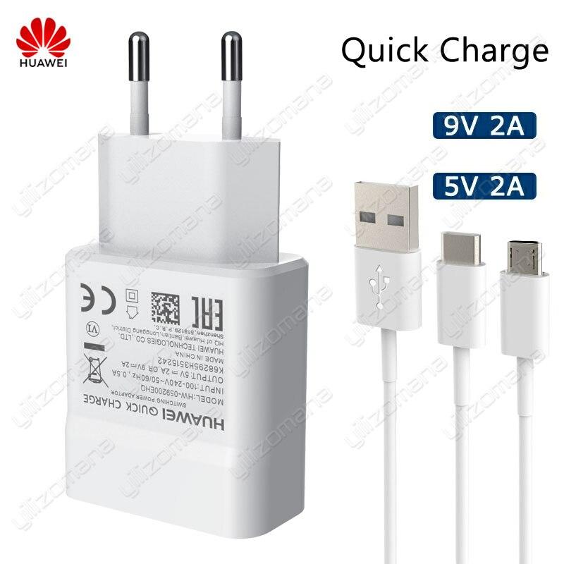 Chargeur d'origine Huawei 5 V/2A 9 V/2A USB charge rapide pour Huawei P8 P9 Plus Lite Honor 8 9 Mate10 Nova 2 2i 3 3i charge d'origine