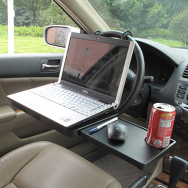 Multi-functional Car Laptop Desk Computer Stand Foldable Car Seat/Steering Wheel Laptop/Notebook Tray Table Drink Holder Rack