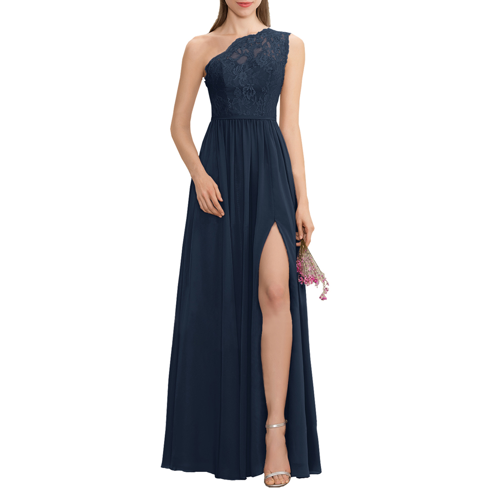 2019-2020 A Line One Shoulder Floor Length Chiffon Lace Bridesmaid Dress With Split Long Front Prom Formal Dresses