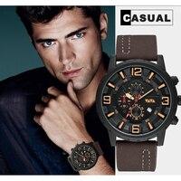 Zegarek wojskowy mężczyźni 2020 nowe męskie zegarki Top marka luksusowy zegarek kwarcowy Casual skórzane sportowe wodoodporny zegar Relogio Masculino w Zegarki kwarcowe od Zegarki na