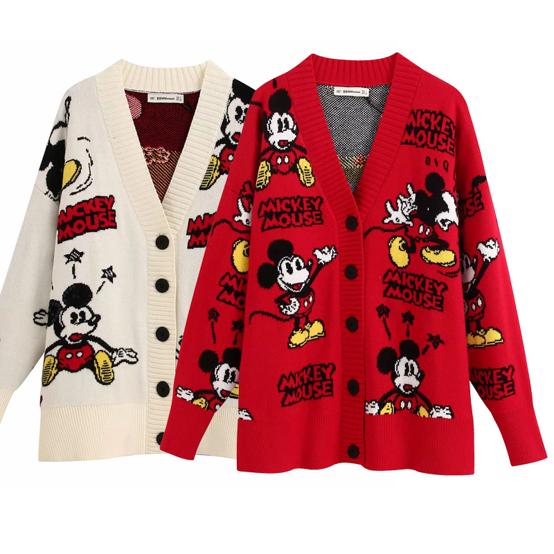 Vintage Women's Sweater Cardigans Cartoon Print Single Breasted Oversized V Neck Sweater Casual Knitted Jacket Female Outwear