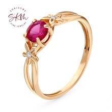 Skm ruby кольца 14k 18k для женщин цветочные обручальные дизайнерские