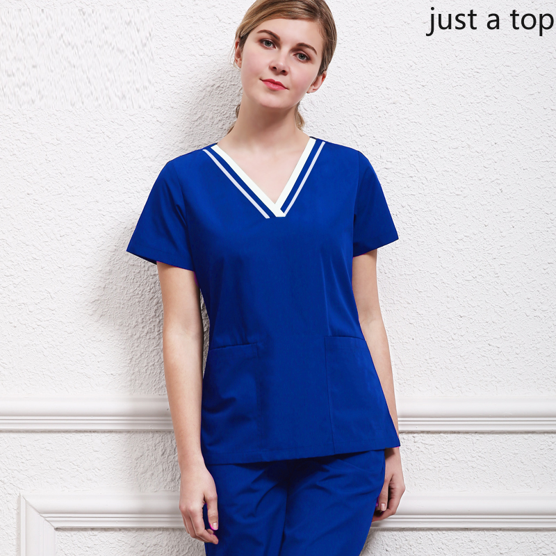 Women's Classic V Neck Scrub Top Short Sleeves Shirt Color Blocking Design Workwear Medical Uniforms Beauty And Health Uniforms