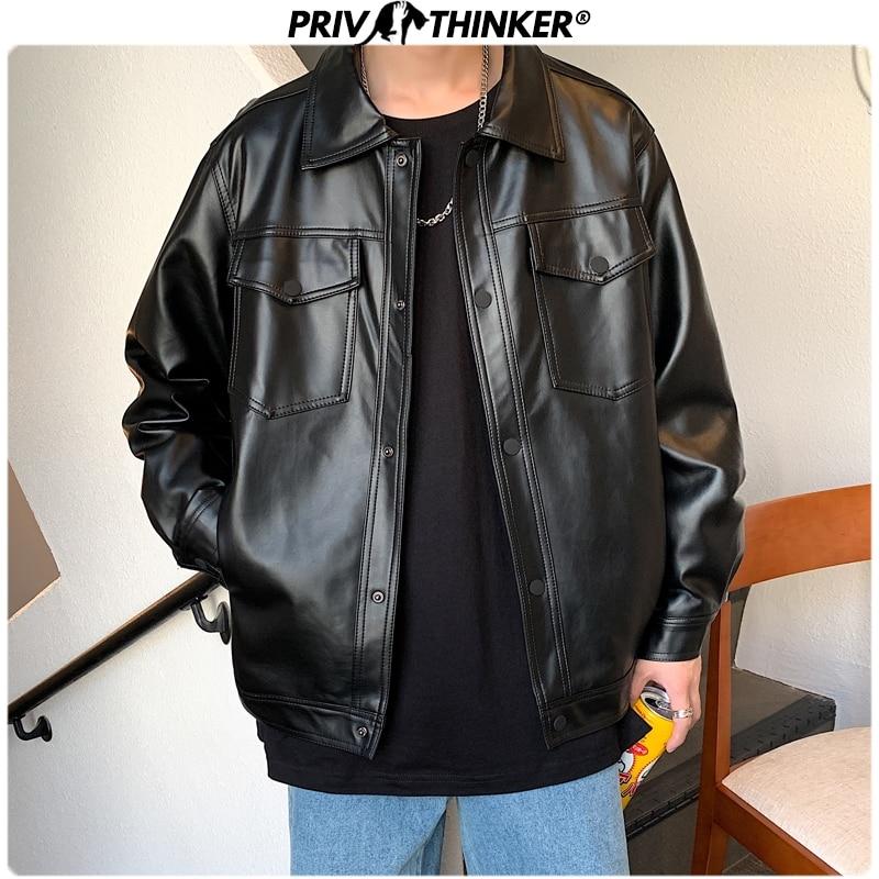 Privathinker Men Spring Black Soft Faux Leather Jacket 2020 Mens Hip Hop Jacket Leather Male Oversize Streetwear Pockets Clothes