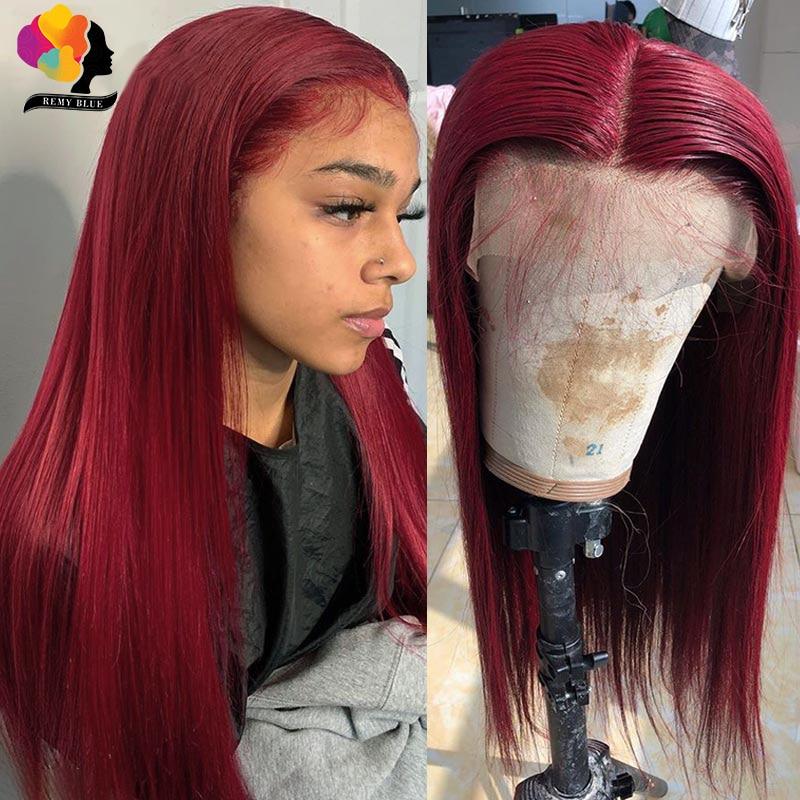 Remyblue-pelucas de cabello humano peruano con encaje frontal prepluck 99J, pelucas de cabello humano recto rojo borgoña 150, peluca Remy de encaje 13x1