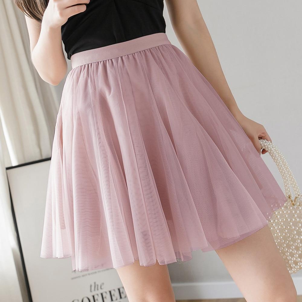 Skirts Womens Mini Tulle Skirt Summer Elastic High Waist A Line Short Skater Skirt 2020 Cute Mesh Tutu Skirt Women Clothes Falda