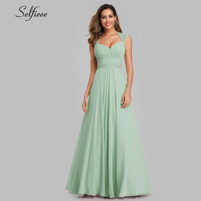 אלגנטי מקסי שמלת אונליין צווארון V שרוולים Ruched Vinatge שיפון נשים שמלת גבירותיי ערב מסיבת שמלות Vestido דה Festa 2019