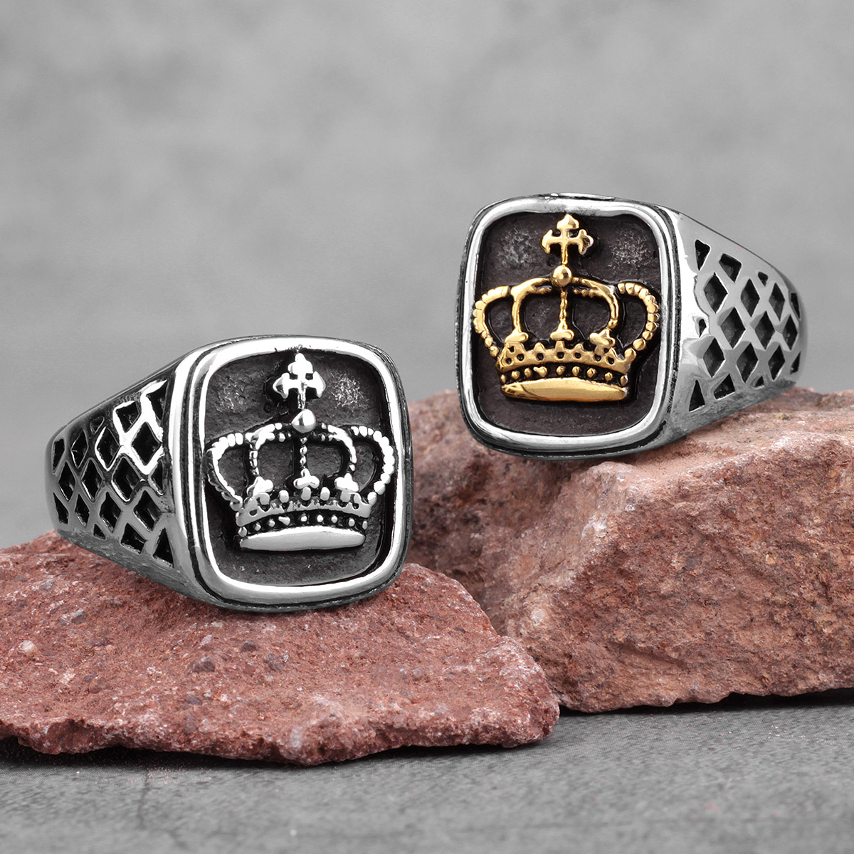 Taç altın gümüş renk erkek yüzük Punk Hip Hop moda serin erkek için erkek paslanmaz çelik takı yaratıcılık hediye toptan
