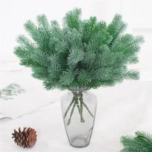 16 gabel Künstliche Pflanzen Kiefer Zweige Weihnachten baum Hochzeit Dekorationen DIY Handwerk Zubehör Kinder Geschenk Bouquet