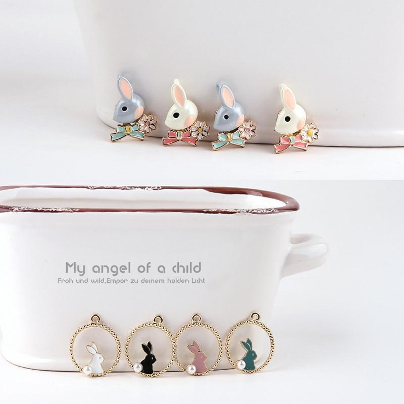 2 Pcs 2019 New Design sweet soft sister cute rabbit alloy animal pendant Cartoon Earrings For Girls DIY ear jewelry accessories in Drop Earrings from Jewelry Accessories