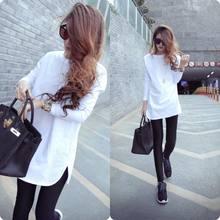 New Plus Size 3XL T Shirt donna estate autunno t Shirt Casual femminile Tee solido cotone bianco t Shirt magliette da donna allentate tshirt