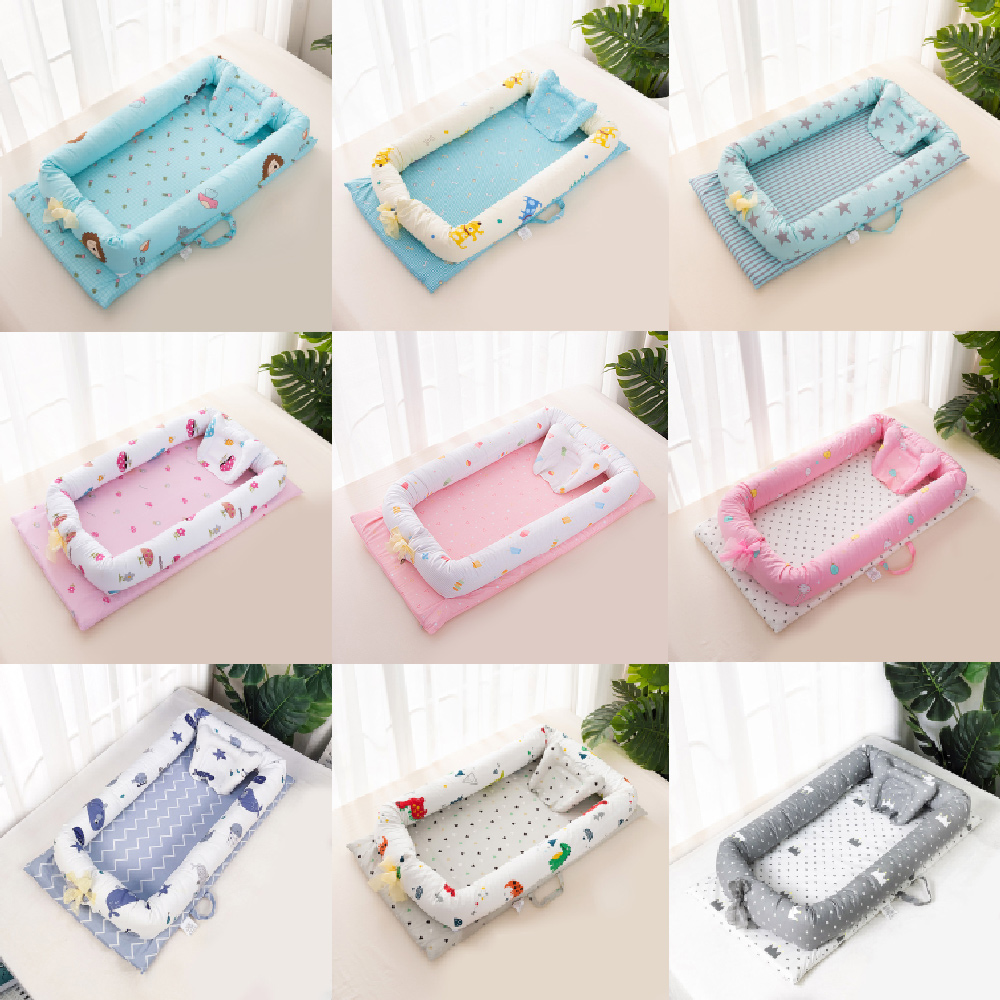 Portable Cartoon Baby Bed Crib Soft Cotton Baby Nest Washable Infant Crib Travel Bed With Pillow Toddler Cradle Children's Bed