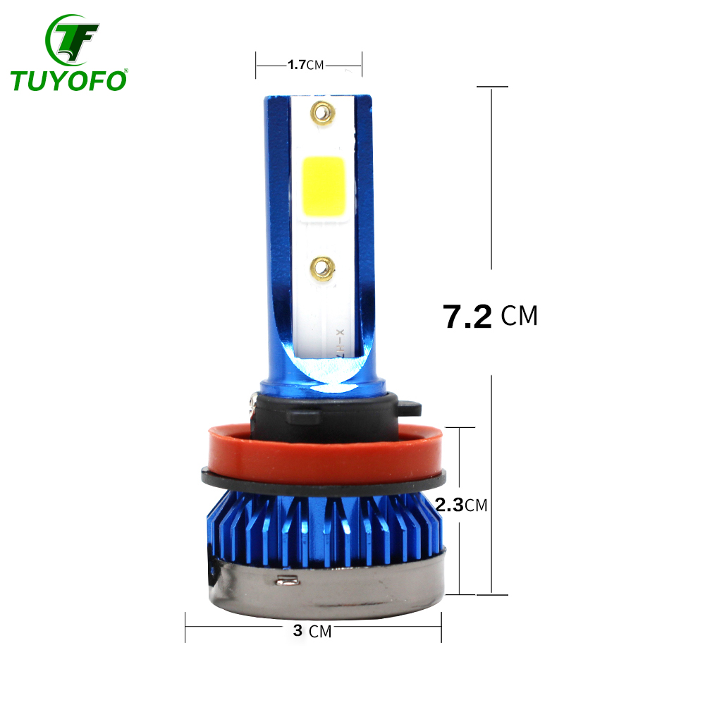 Tuyofo1pcs New Designed Mini Led Car Headlight  6000k Cold White Led H1 H7 H8/H9/H11 9005/HB3 9006/HB4 Super Bright Light