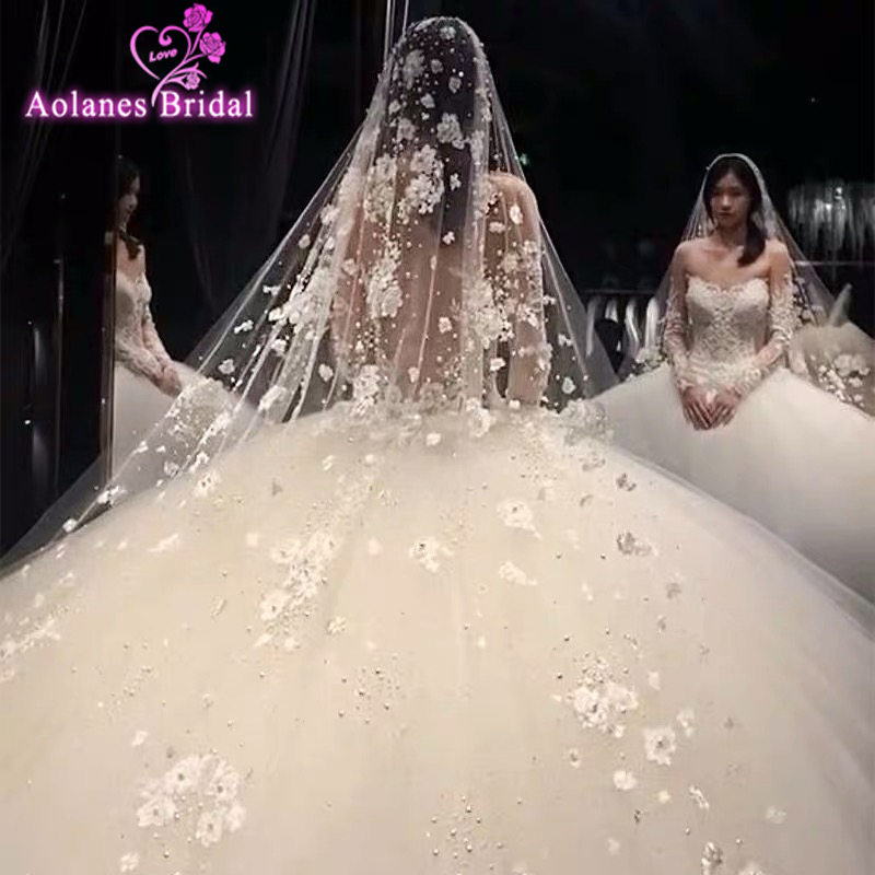 Модные Длинные Свадебные вуали для собора, кружевная вуаль с расческой, объемные цветы, жемчуг, восхитительная вуаль для невесты с кристалл