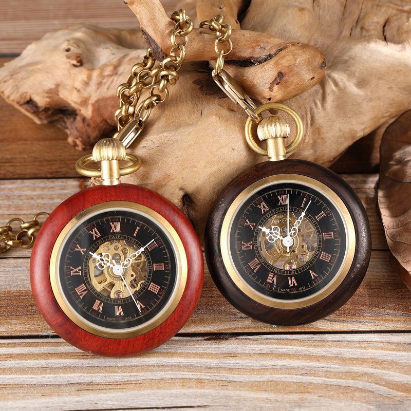 Round Wooden Mechanical Pocket Watch Luxury Red Black Wooden Watch Hand Winding Skeleton Fob Watches Men Women Clock Gifts Reloj