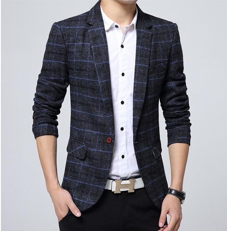 2019 Autumn Clothing New Style Men Youth Slim Fit Casual Korean-style Plaid Small Suit Coat Suit Men'S Wear