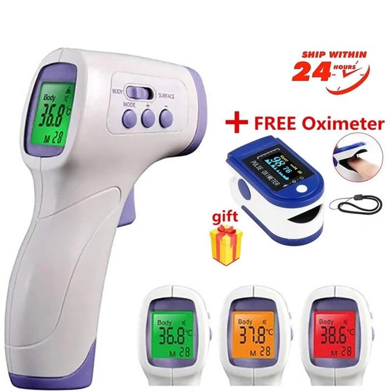 Цифровой бесконтактный термометр, инфракрасный прибор для измерения температуры тела и лба, электронный прибор для измерения температуры ...