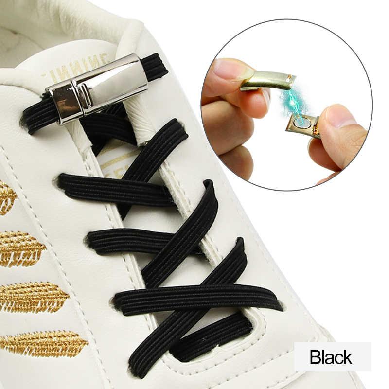 1 çift renkli kolay dantel hiçbir kravat ayakkabı bağı elastik ayakkabı dantel yetişkin çocuk için manyetik kilitleme ayakabı ayakabı düz