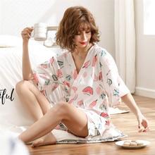 JULYS CANZONE Delle Donne del Cotone Pajamas Set 2 Pezzi Stampati Pigiama Tuta Maniche Corte Degli Indumenti Da Notte Stampato Shorts per la Femmina
