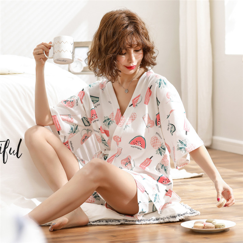 JULY'S SONG Cotton Women Pajamas Set 2 Pieces Printed Pajamas Suit Short Sleeves Sleepwear Printed Shorts For Female