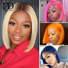 Brazilian Transparent Lace Wig Ombre T1/B 613 Blonde Straight Short Bob Wigs T Part Lace Front Human Hair Wigs for Black Women