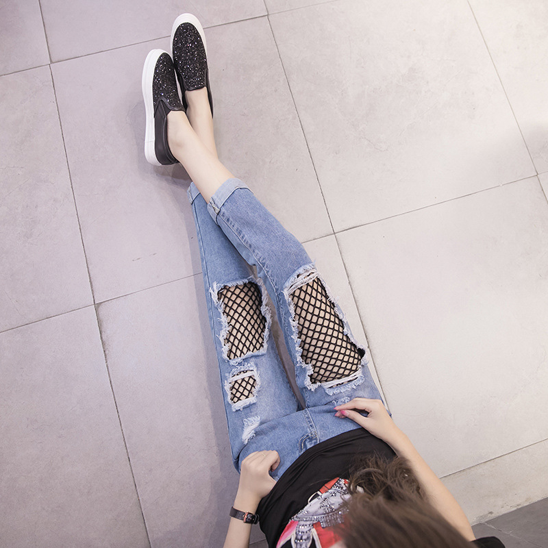 2019 Spring With Holes Denim (Ankle-length Pants) Women's Harem Baggy Pants Revers Fishnet Stockings Straight-Cut Ripped Jeans F
