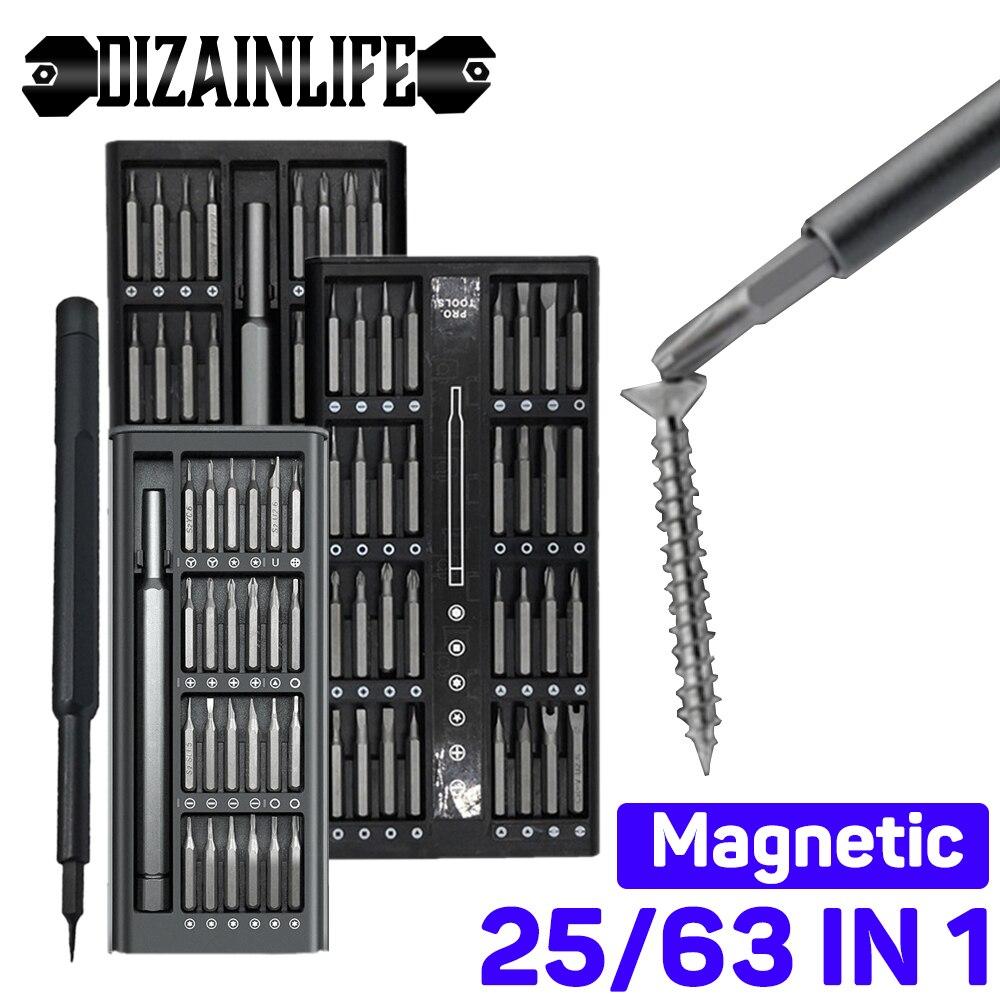 25/63 In 1 Precision Screwdriver Set Magnetic Screw Driver Bits Phillips Torx Hex Bit Handle Mobile Phone Repair Screwdrive Kit
