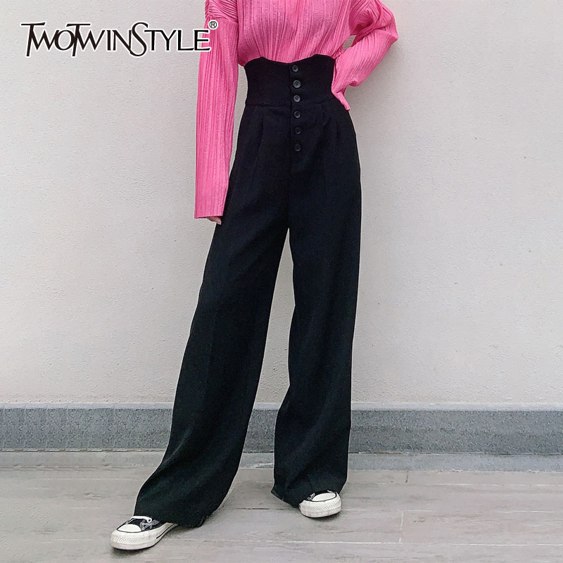 TWOTWINSTYLE Elegant High Waist Women Wide Leg Pants Tunic Loose Casual Full Length Pant Female Clothes Fashion 2020 Tide Spring