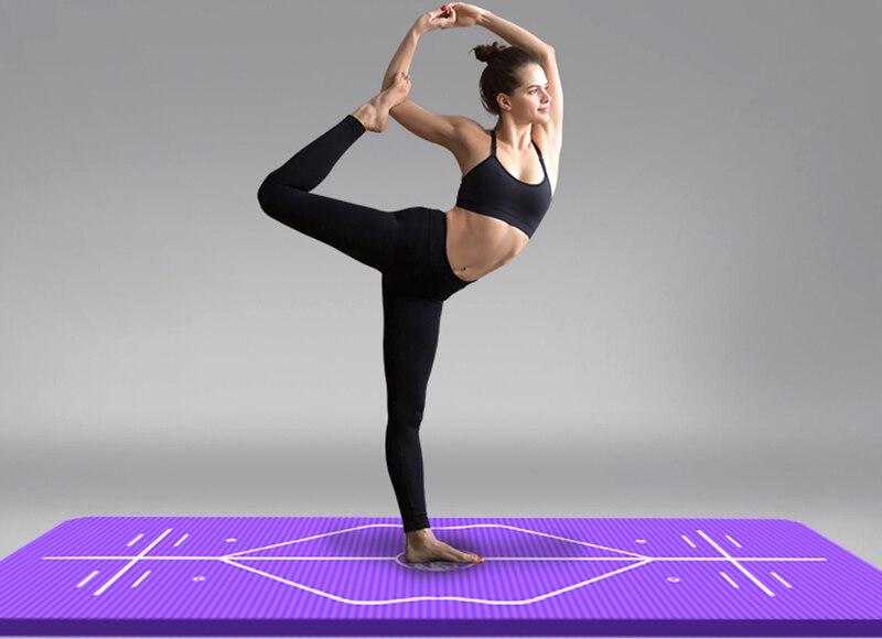10mm Yoga Mat for Beginner with Position Line Non-slip Gym Yoga Mat Thicken Widen Men Women Yoga Exercise Dance Fitness Mat 23