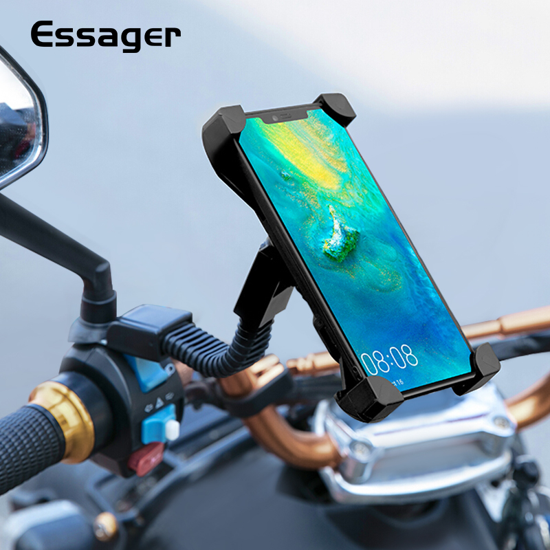 Essager Motorcycle Phone Holder For IPhone Huawei Mobile Phone Stand Handlebar Clip Moto Mount Bracket Support Cellphone Holder