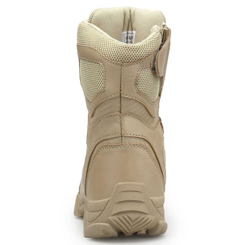 Erkekler askeri taktik botları kış deri özel kuvvet çöl ayak bileği savaş botları erkekler deri kar botları ordu ayakkabı büyük boy