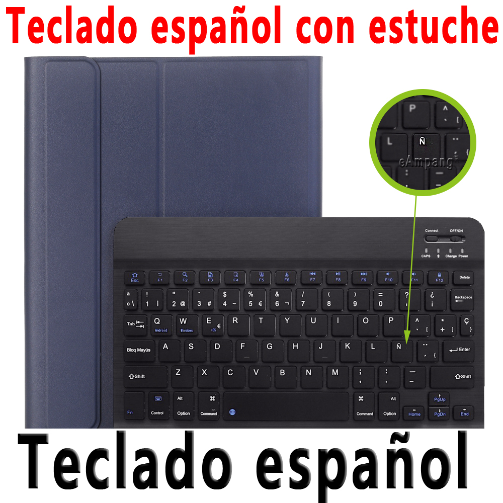 Spanish Keyboard Brown For iPad 10 2 2019 2020 Keyboard Case with Pencil Holder for Apple iPad 7th 8th
