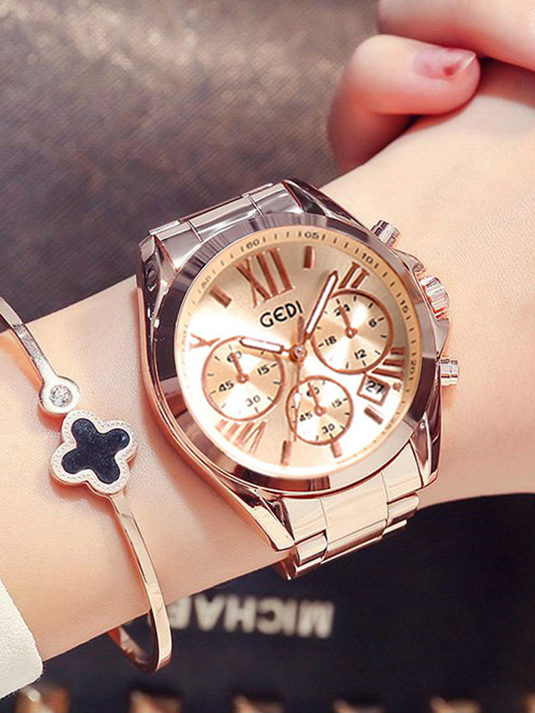 Women Watch Clock Quartz Rose-Gold Female Waterproof Top-Brand Luxury for Lady Calendar