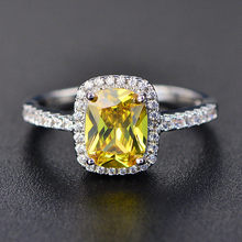 6 Colors Real Sterling Silver 925 Jewelry Emerald Gemstone Rings For Women New Fashion Wedding Party Ring With Zircon