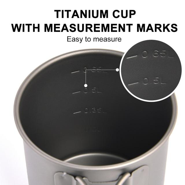Widesea Camping Mug Titanium Cup Tourist Tableware Picnic Utensils Outdoor Kitchen Equipment Travel Cooking set Cookware Hiking 4