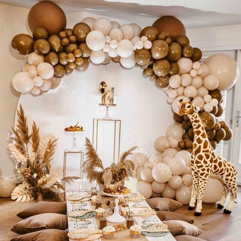 DIY Pastel Baby Shower Macaroon Cream Peach Skin Balloons Garland Arch Kit Retro Coffee Ballon Wedding Birthday Party Decor