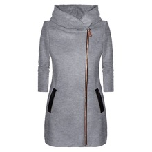 Oeak Women's autumn and winter hooded jacket long-sleeved thick coat warm side zipper jacket coat solid color long coat 2019 oeak women s autumn and winter hooded jacket long sleeved thick coat warm side zipper jacket coat solid color long coat 2019