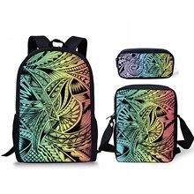 Полинезийский радуга печать школа сумки наборы школа рюкзаки для колледжа девочек тонга искусство дизайн школа сумки с карандаш чехол