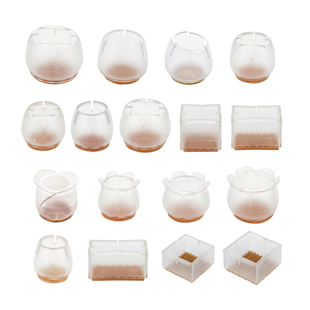 10pcs Silicone Rectangle Square Round Chair Leg Caps Feet Pads Furniture Table Covers Wood Floor Protectors   UND Sale