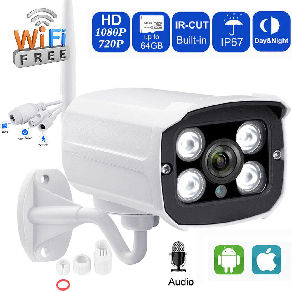 Wireless Camera 1080P Outdoor IP Wireless Wifi Security Camera Outdoor 2MP Waterproof Audio Record Support TF Card -Full Metal
