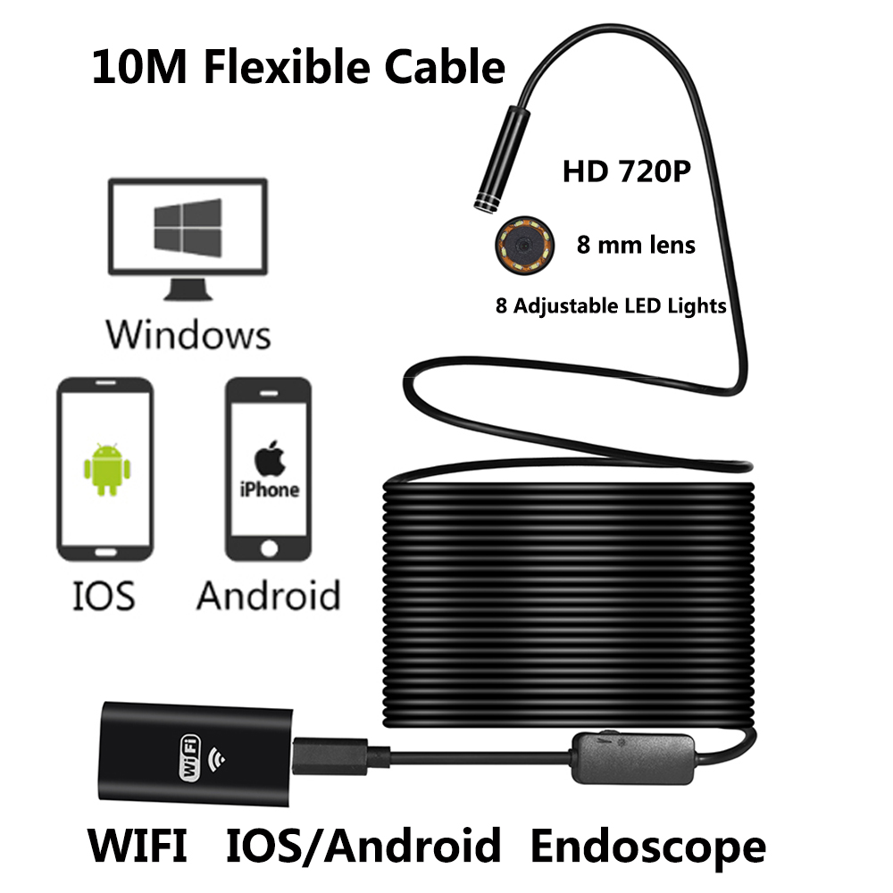10M WIFI Endoscope Camera 8mm Lens 2MP 720P Snake USB Flexible Hard Wire Android IOS PC 8LED Inspection Endoscope Camera image