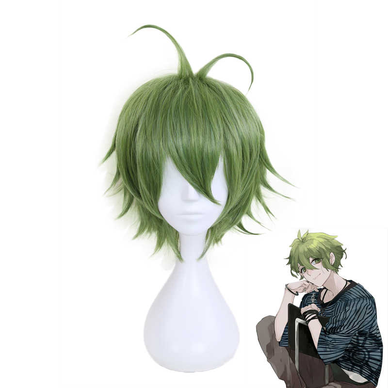 Anime Danganronpa Rantaro Amami Rantarou Green Short Wig Cosplay Costume Dangan Ronpa V3 Heat Resistant Synthetic Hair Wigs