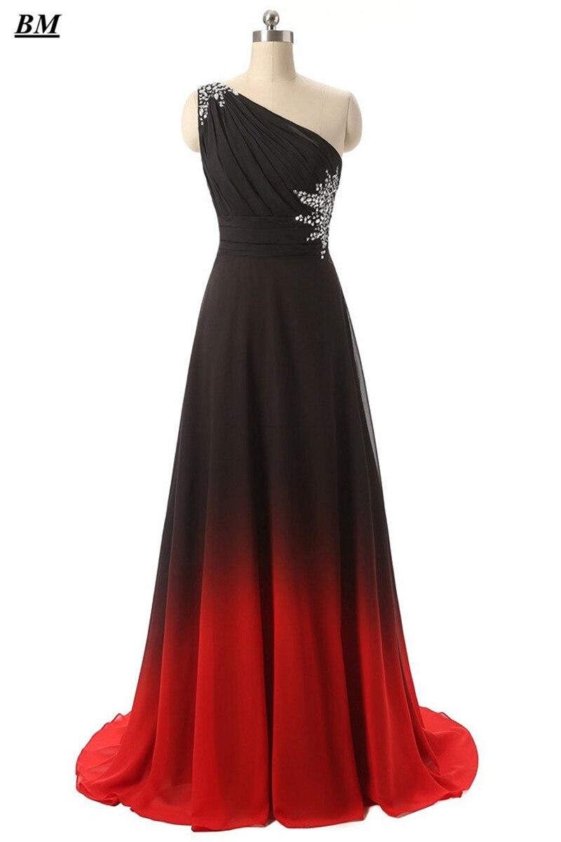 2019 Sexy   Prom     Dresses   A-line Gradient Chiffon Long Formal Evening   Dress   Plus Size Ombre Party Gown Vestido De Formatura BM02