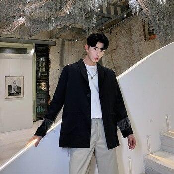 Male Streetwear Hip Hop Punk Blazer Jacket Overcoat Men Metal Tassel Back Slit Casual Suit Coat Outerwear Stage Show Clothes