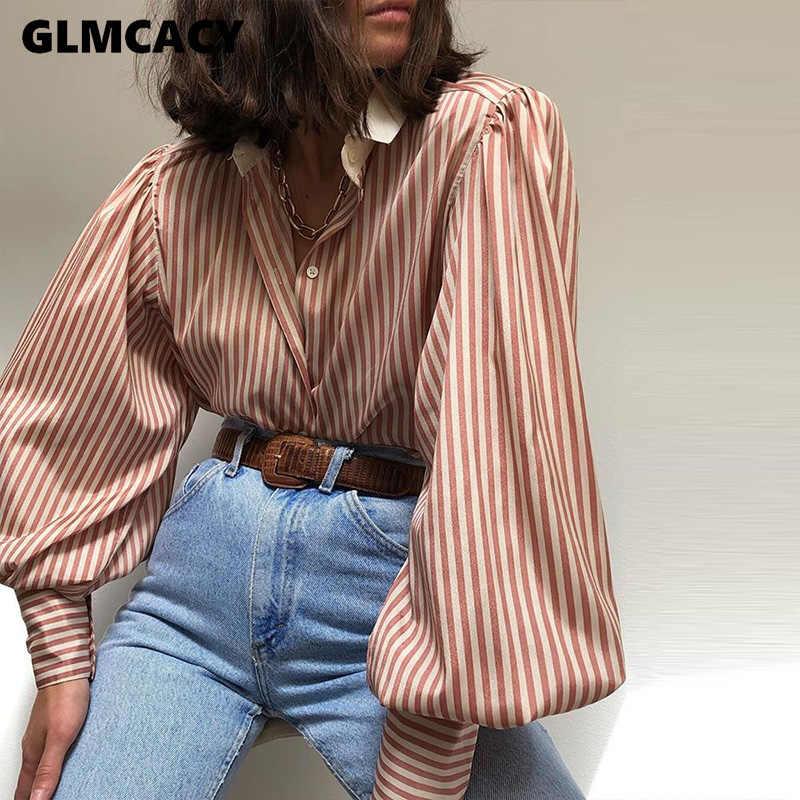 Женская Полосатая Рубашка с рукавами-фонариками Повседневная шикарная уличная одежда модная офисная Женская весенне-осенняя свободная стильная блузка